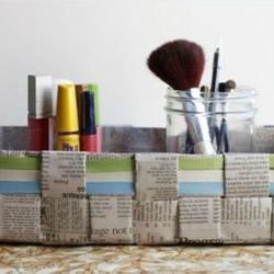 废旧报纸编织筐制作图解 用报纸编收纳筐的方法
