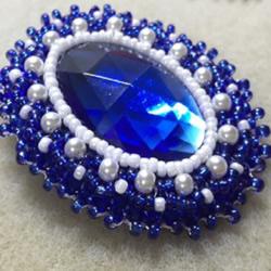 珠绣宝石胸针制作教程 珠绣蓝宝石胸针
