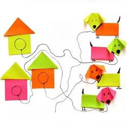 简单幼儿折纸狗狗和狗窝的方法 材料是便