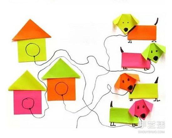 简单幼儿折纸狗狗和狗窝的方法 材料是便签纸