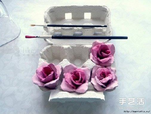 蛋托玫瑰花装饰手工制作 即使婚礼上都可以用 -  www.shouyihuo.com