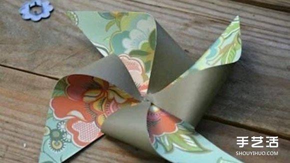 幼儿八叶纸风车的做法 手工双层纸风车的做法