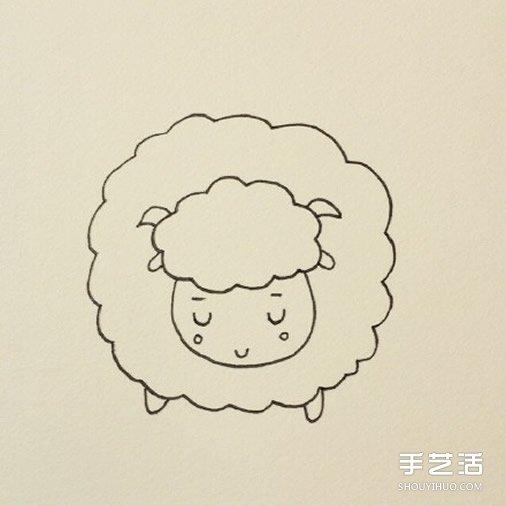 睡觉的小绵羊简笔画的画法教程
