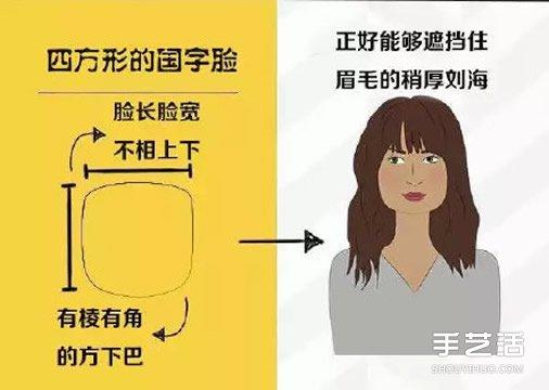 四方形的国字脸女生适合的发型和刘海图片