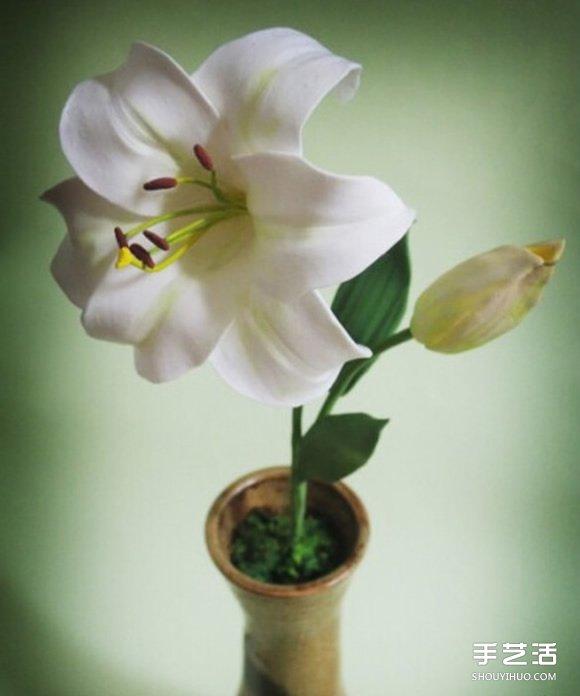 超轻粘土百合花制作教程 逼真的手工花卉diy图片