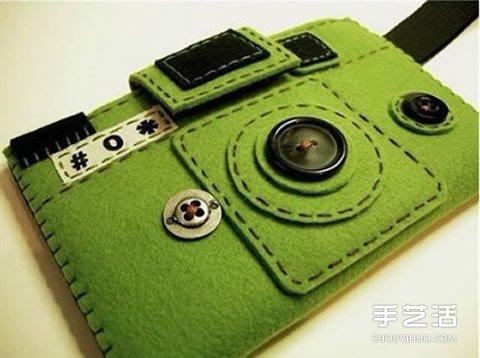 可爱不织布手机套图片 外观是相机和复古电话