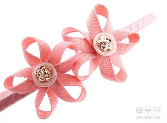 可爱缎带花手工制作 装饰到发箍很适合小女生