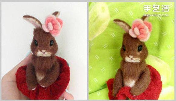 如何制作羊毛毡兔子 毛绒兔子羊毛毡diy教程