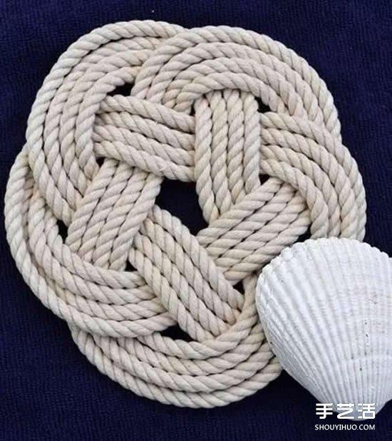如何用麻绳制作杯垫教程 自制麻绳杯垫方法图解 -  www.shouyihuo.com