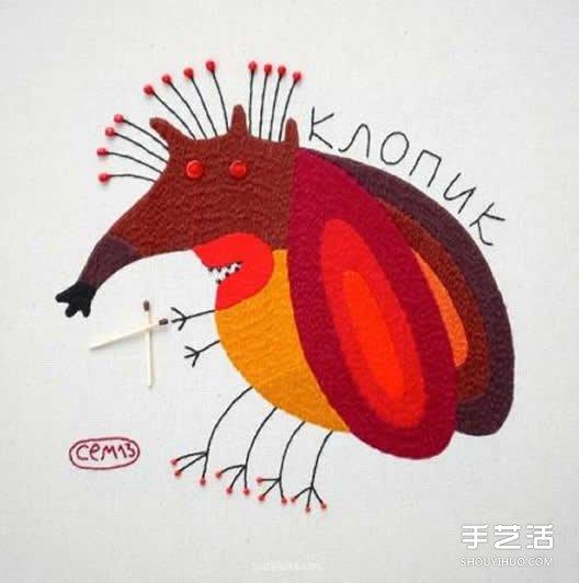 一组细腻的手工刺绣作品 让动物变得美丽多彩