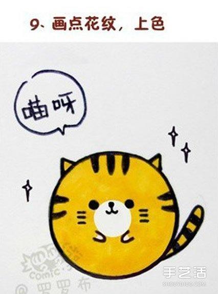 利用一个纽扣画出卡通猫咪的简笔画画法图片