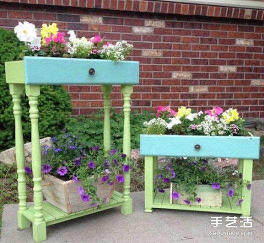 家里的旧家具怎么处理 旧家具改造花盆花架diy图片