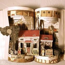 经典书籍上的雕塑作品 艺术般的立体纸雕图片