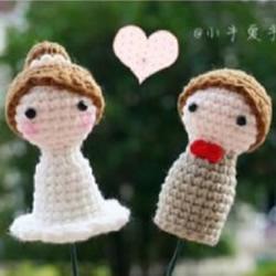 毛线情侣人偶编织针法 婚礼装饰情侣小人
