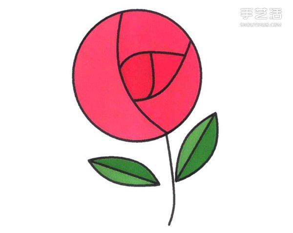 玫瑰花简笔画的画法图片 玫瑰花简易画法步骤-书本简笔画的画法