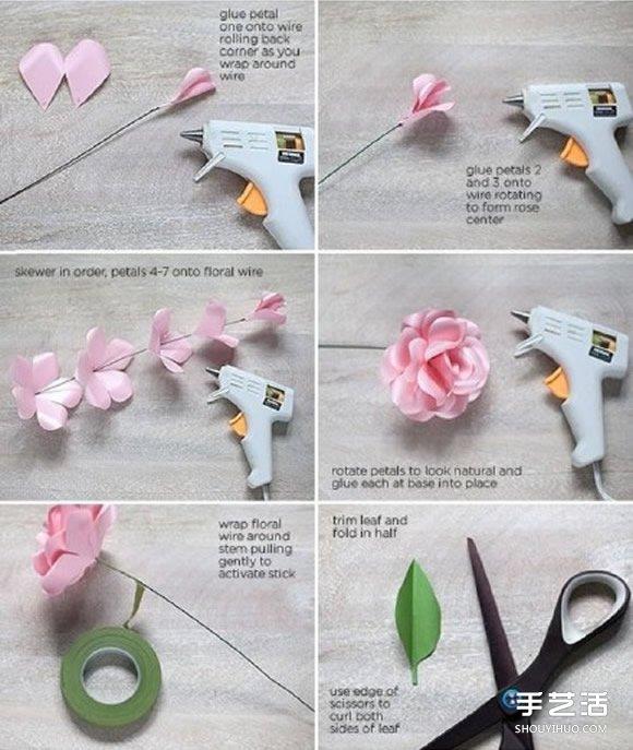 纸玫瑰的简单折法图解 纸玫瑰花发卡diy教程