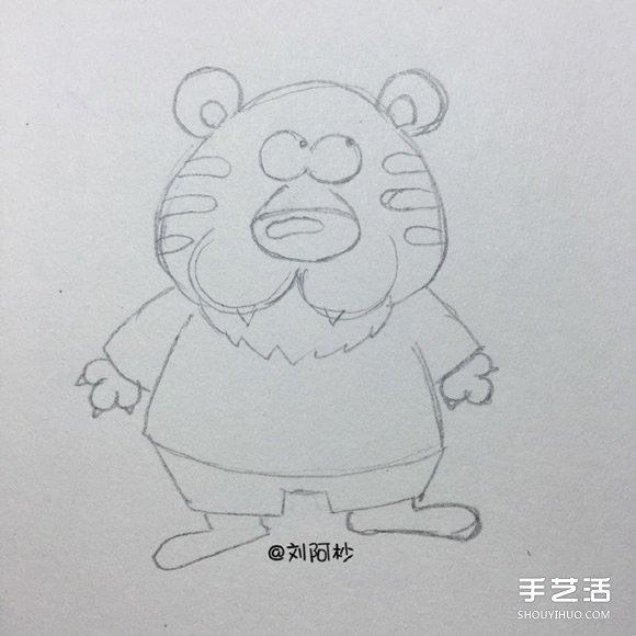 卡通老虎先生簡筆畫畫法 簡筆畫卡通老虎圖片