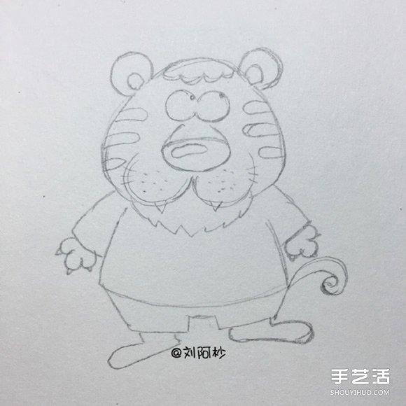 憨厚的卡通老虎先生简笔画图片