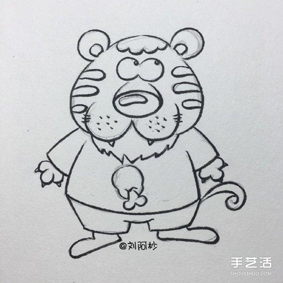 憨厚的卡通老虎先生简笔画