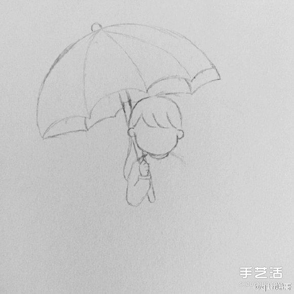 中打伞的小女孩简笔画画法图片教程