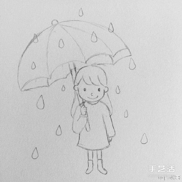 关于唱歌的小女孩简笔画画法
