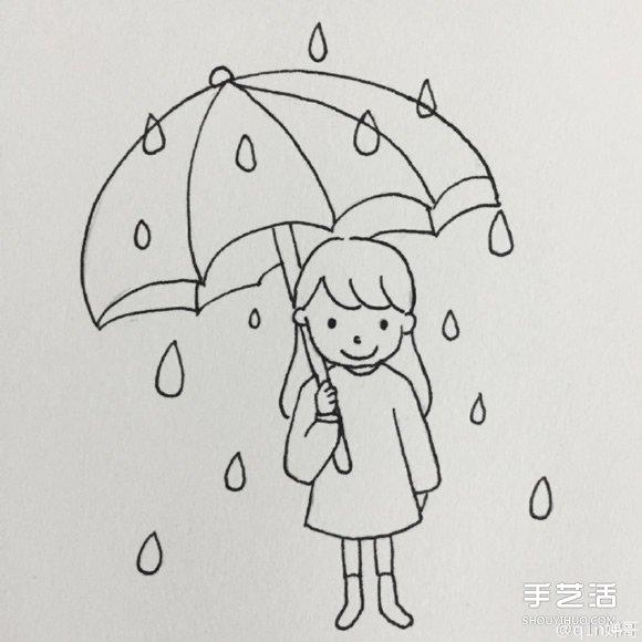 打伞的简笔画-孕妇雨中临盆 老公接生街坊打伞