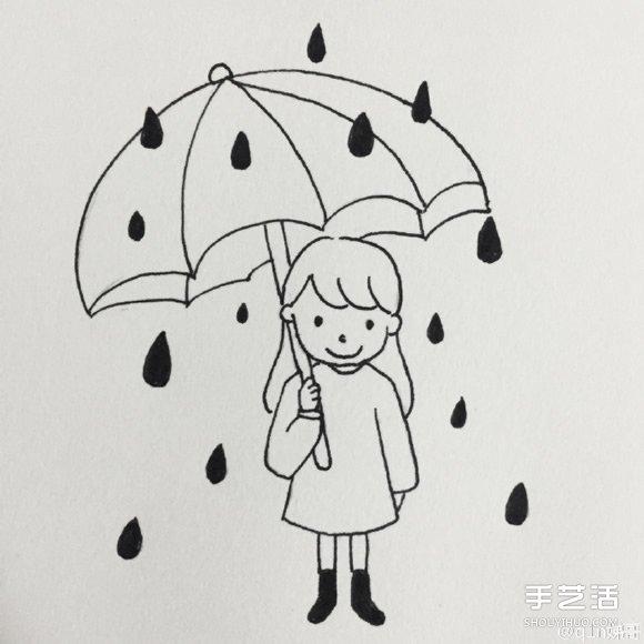 下雨的简笔画-雨中打伞的小女孩psd插画