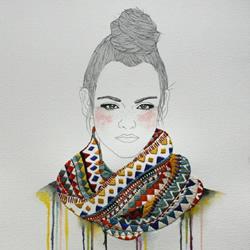 将插画和刺绣完美结合 DIY出独特的创意画作