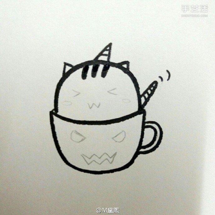 偷喝苦咖啡的卡通小猫咪简笔画的画法图片教程