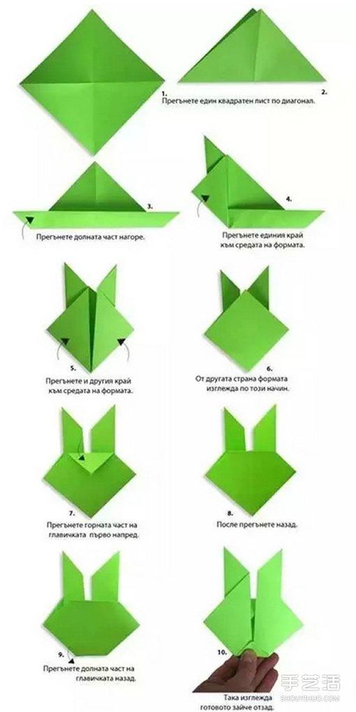 如何折纸兔子头 幼儿折纸兔子头的折法图解图片