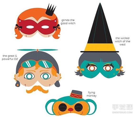 手工纸面具制作方法 简单手绘半脸面具图案图片