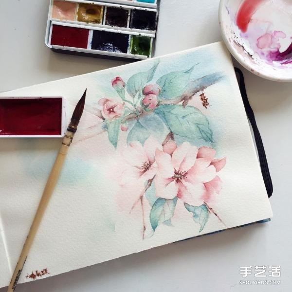 水彩画画花的步骤图片