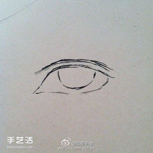 英气勃勃的男性眼睛素描的基本画法步骤