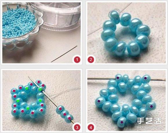 串珠花朵饰品图解教程 精美古风串珠花diy步骤
