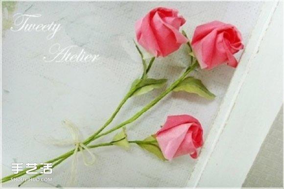 纸玫瑰的折法图解 简单旋转玫瑰折纸一步一步图片