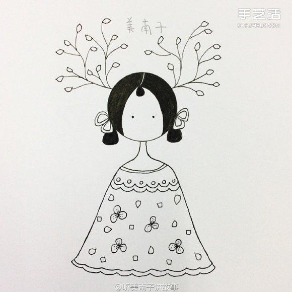 画的画法 彩色铅笔画女孩教程