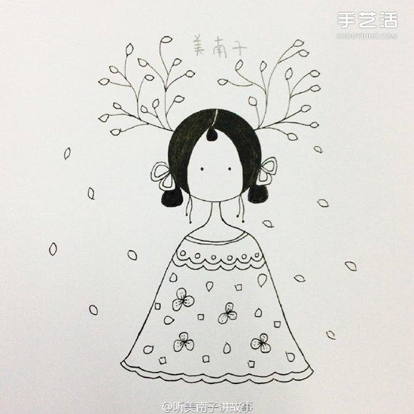 小女孩图画简单又好看-美丽女孩彩铅画的画法 彩色铅笔画女孩教程