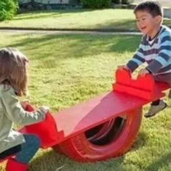 废旧轮胎创意手工利用 DIY跷跷板和大象玩具