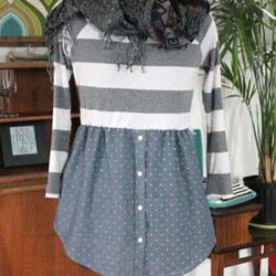 旧T恤和旧衬衫改造制作包臀裙的教程图解