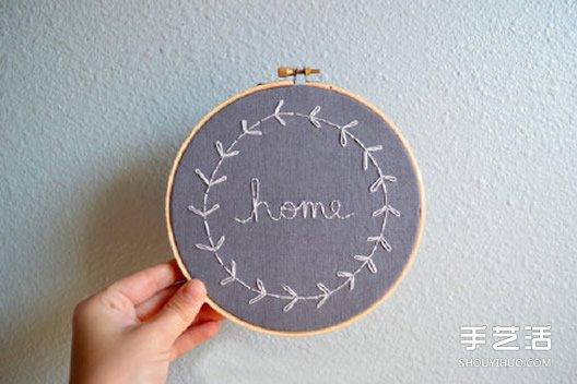 图案以文字为主的小清新刺绣作品图片 -  www.shouyihuo.com