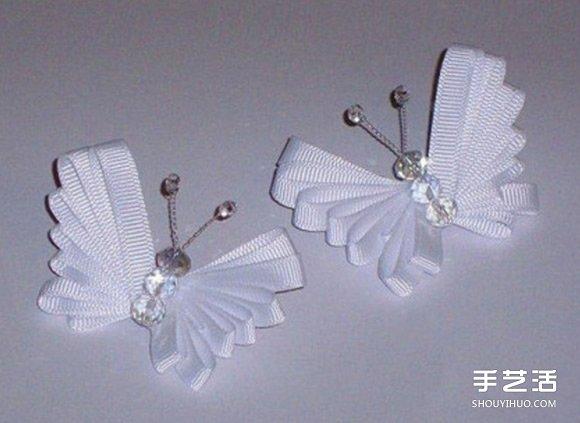 简单缎带蝴蝶的做法图解 手工制作缎带蝴蝶教程