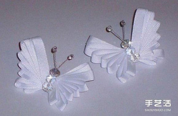 简单缎带蝴蝶的做法图解 手工制作缎带蝴蝶教程_平面