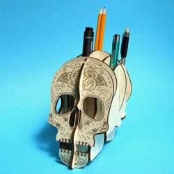 骷髅头笔筒DIY教程 密度板制作创意骷髅头笔筒
