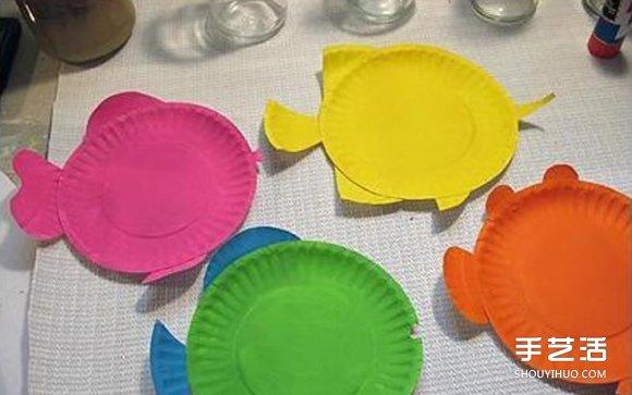 一次性餐盘手工制作小鱼
