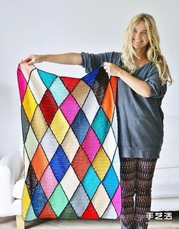 像是七巧板拼成的漂亮手工针织毯子花样图解