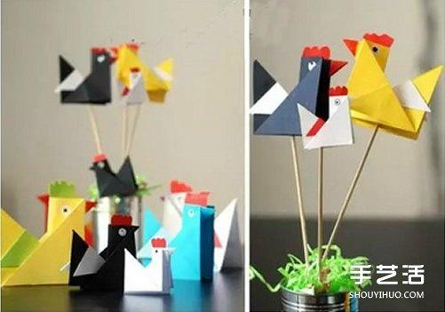 儿童折纸小公鸡方法 立体小公鸡的折法图解图片4