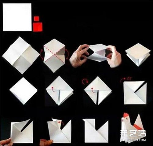 儿童折纸小公鸡方法 立体小公鸡的折法图解图片5