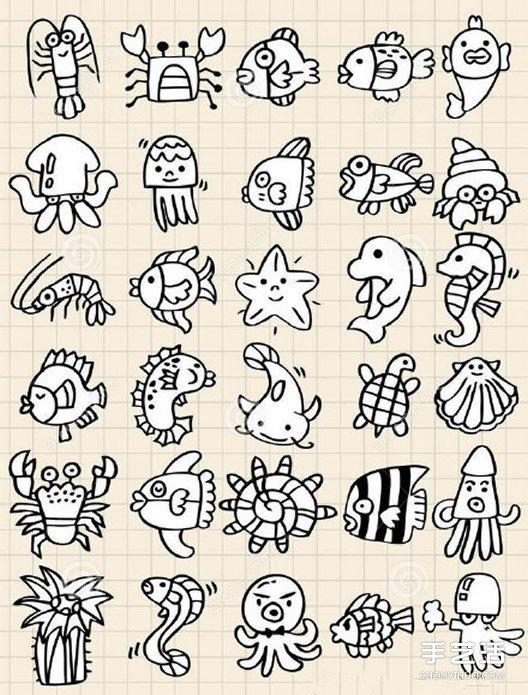黑白手手绘动物插画