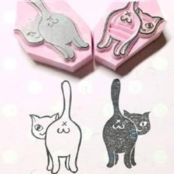 可爱清新的猫咪、鸟儿和花草橡皮章图案素材