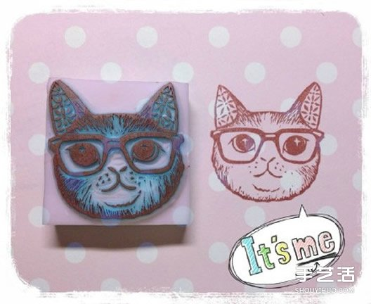可爱清新的猫咪、鸟儿和花草橡皮章图案素材 -  www.shouyihuo.com